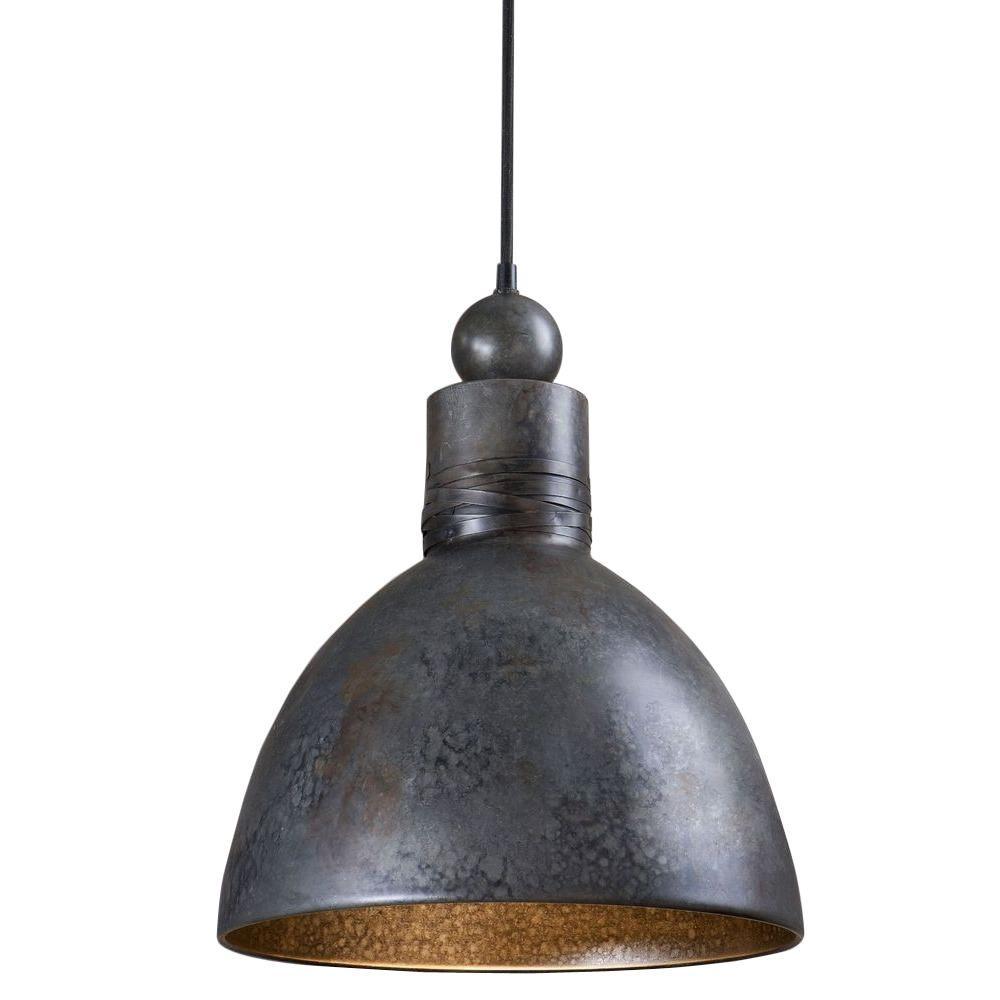 1-Light Rust Silver Pendant