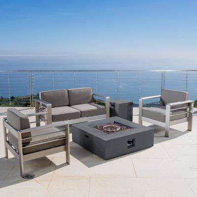 Cape Coral Khaki 5-Piece Aluminum Patio Fire Pit Conversation Set with Khaki Cushions