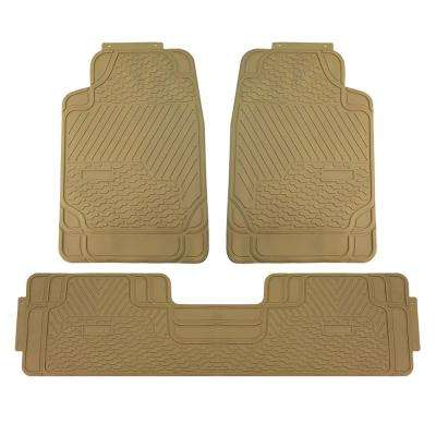 Beige Heavy Duty 3 Piece 29 in. x 19 in. x 2 in. Durable Rubber All Weather Protection Car Floor Mats