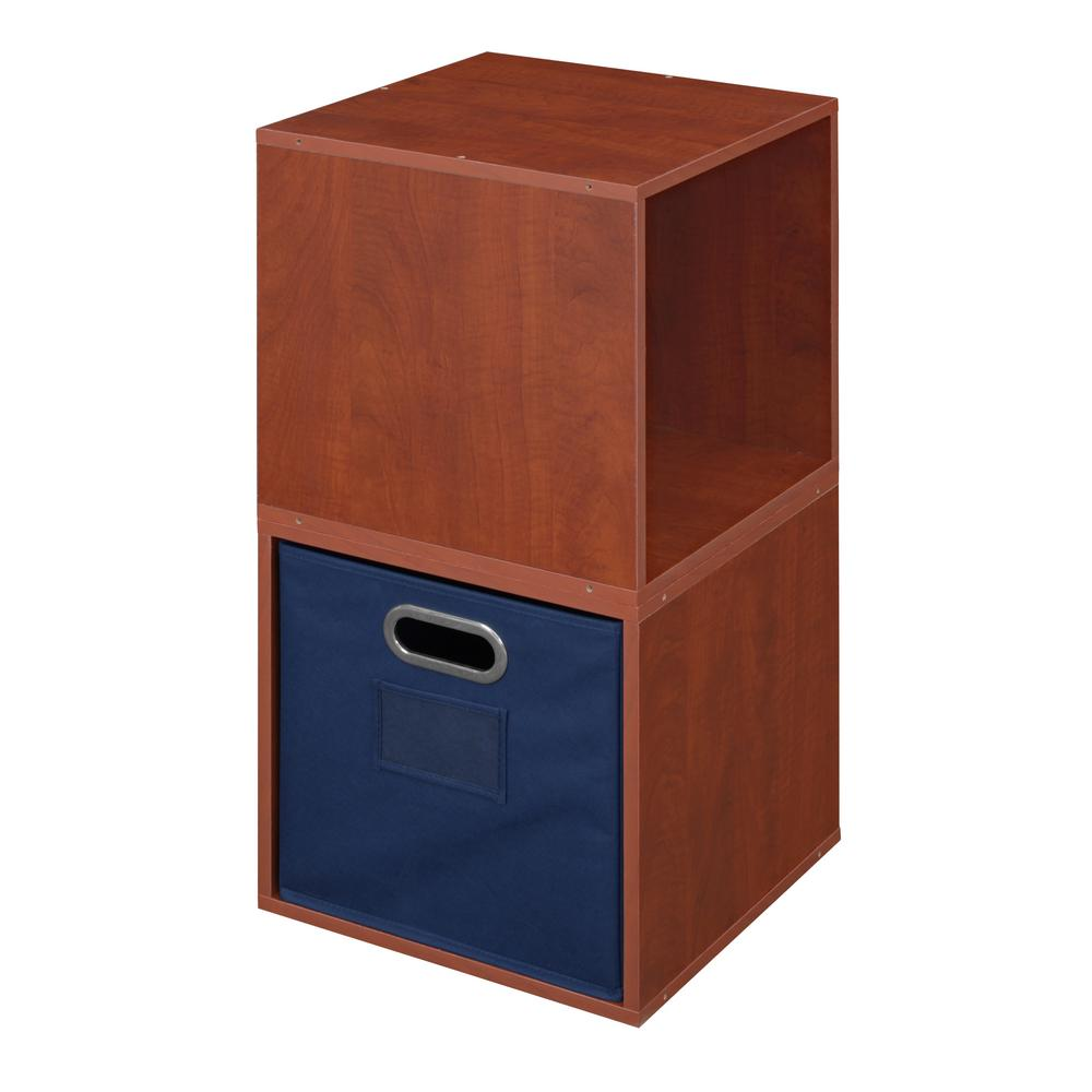 Cubo 13 in. x 26 in. Warm Cherry/Blue 2-Cube and Bin