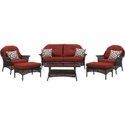 San Marino 6-Piece All-Weather Wicker Patio Seating Set with Crimson Red Cushions