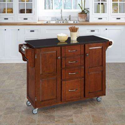 Create-a-Cart Cherry Kitchen Cart With Black Granite Top