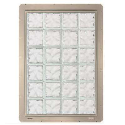 31.75 in. x 46.75 in. x 3.25 in. Wave Pattern Glass Block Window with Clay Colored Vinyl Nailing Fin