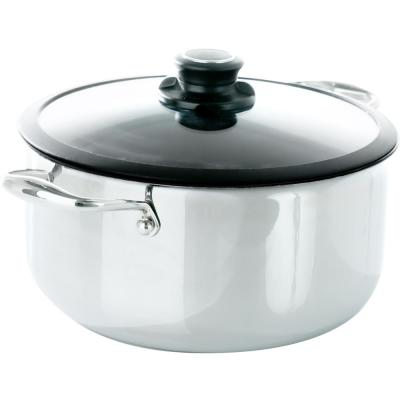 Black Cube 7.5 qt. Stainless Steel Nonstick Stock Pot with Glass Lid