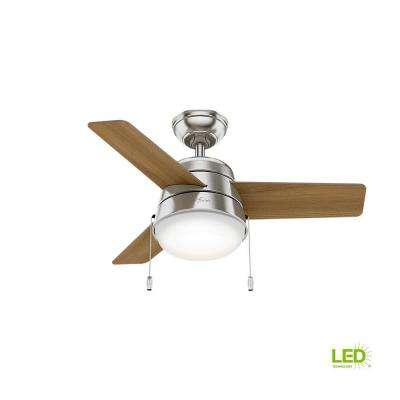 Nickel Mid Century Modern Ceiling Fans Lighting The Home Depot