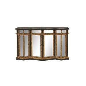 Wood and Glass Mirror Buffet Cabinet by