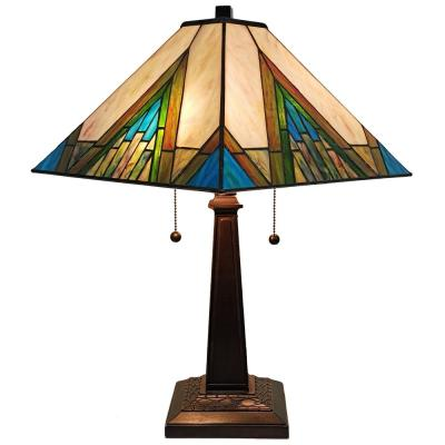 Tiffany 22 in. Green and Ivory Table Lamp with Stained Glass Shade