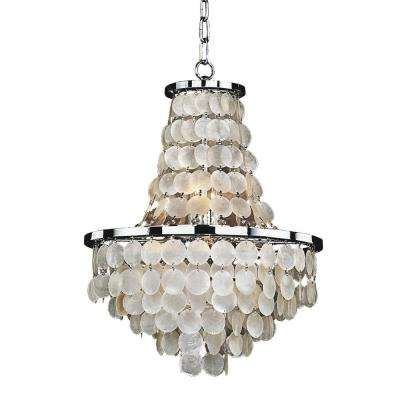 Bayside 8 Light Capiz Shell And Chrome Chandelier