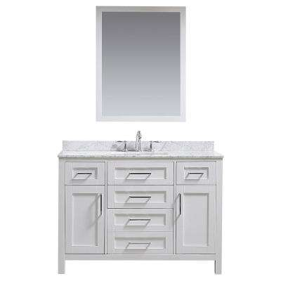 OVE Tahoe 48 in. W x 21 in. D Vanity in White with Carrera Marble Vanity Top in White with White Basin and Mirror