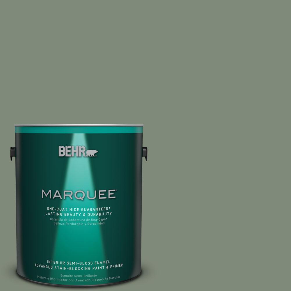 1 gal. #N400-5 Thai Basil One-Coat Hide Semi-Gloss Enamel Interior Paint