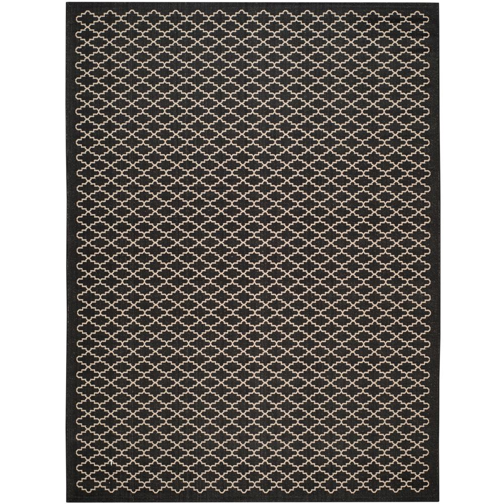 Safavieh Courtyard Black/Beige 9 ft. x 12 ft. Indoor/Outdoor Area Rug