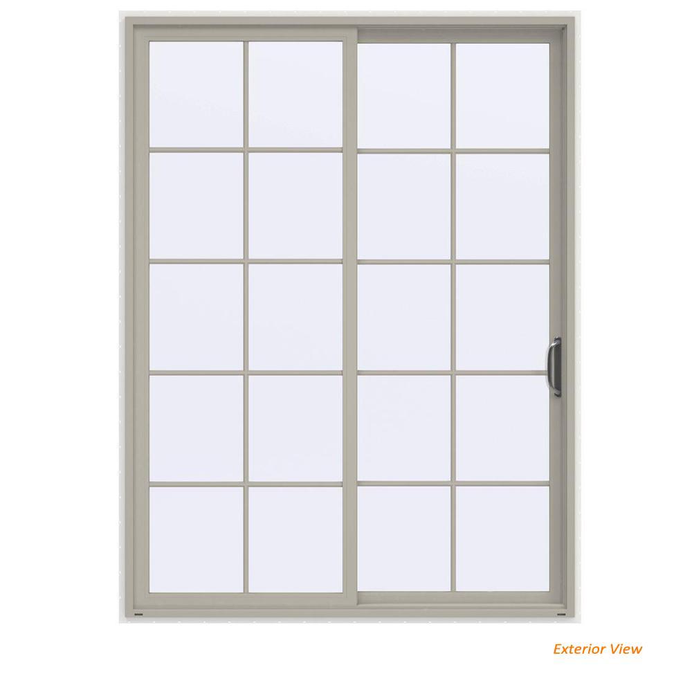 72 in. x 96 in. V-4500 Contemporary Desert Sand Vinyl Right-Hand 10 Lite Sliding Patio Door w/White Interior