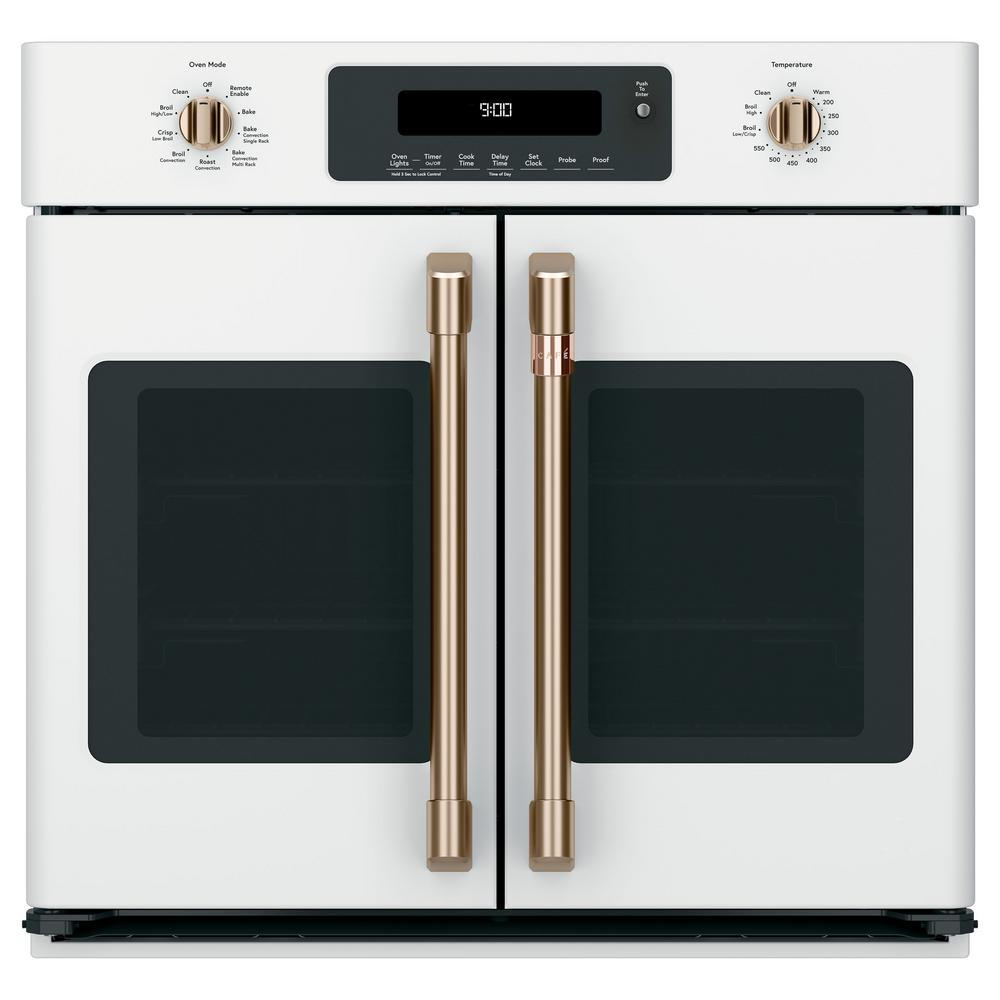 Cafe 30 in. Single Electric Wall Oven with Convection Steam-Cleaning in  Matte White, Fingerprint Resistant