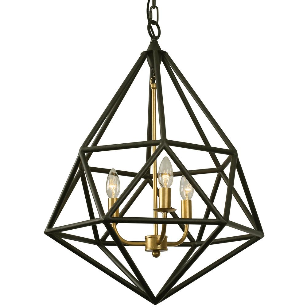 varaluz facet 3light forged iron with gold leaf pendant