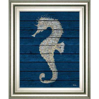 "22 in. x 26 in. ""Antique Seahorse on Blue II"" by Patricia Pinto Framed Printed Wall Art"