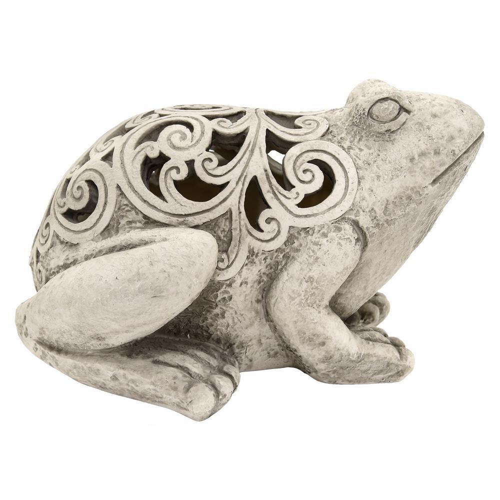 12.5 in. x 9 in. Resin Frog Decoration in Gray