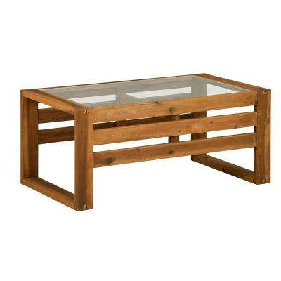Rectangle Brown Acacia Wood and Glass Outdoor Open Side Coffee Table