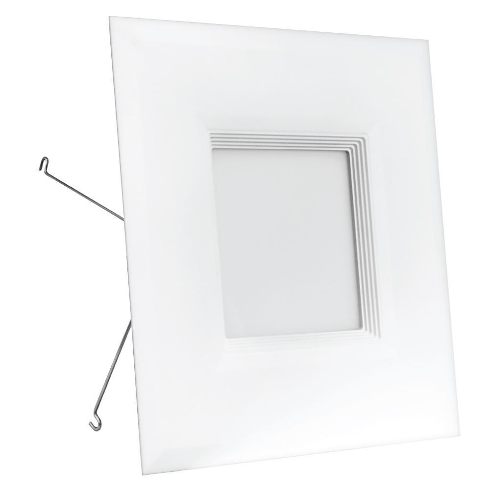 6 in. 65-Watt Equivalent Warm White (3000K) Square White Trim Recessed Retrofit Baffle R20 Downlight LED Module 90 CRI