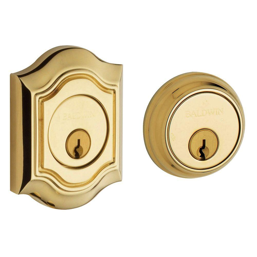 2-1/8 in. Bethpage Lifetime Polished Brass Double Cylinder Door Prep Deadbolt