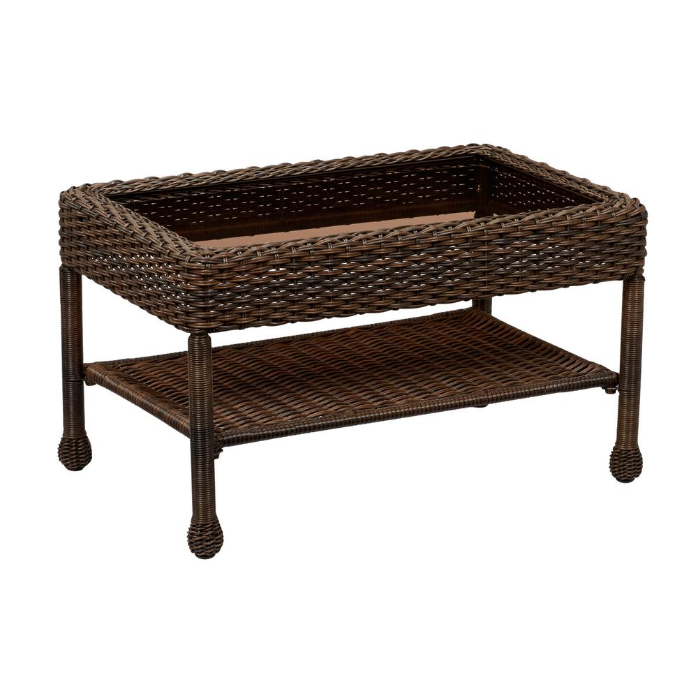 Hampton Bay Mix And Match Brown Wicker Outdoor Coffee Table 65
