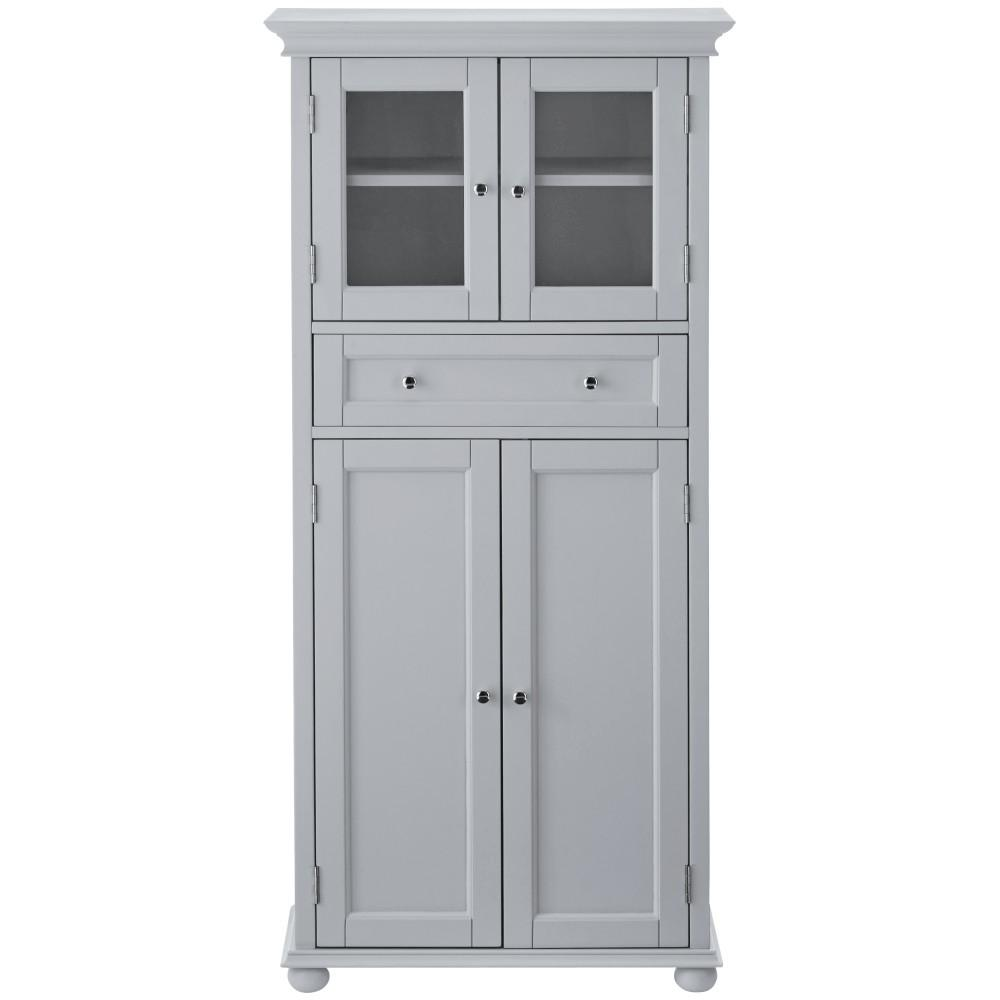 Home Decorators Collection Hampton Harbor 25 in. W 4-Door Tall Cabinet in Dove Grey