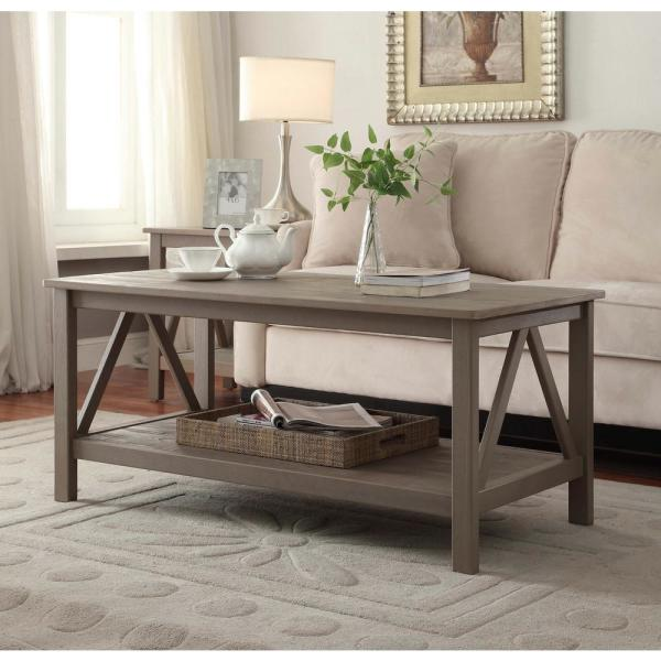 Linon Home Decor Titian Driftwood Coffee Table 86151GRY01U
