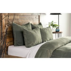 Heirloom Linen Vine Embroidery King Duvet Cover by