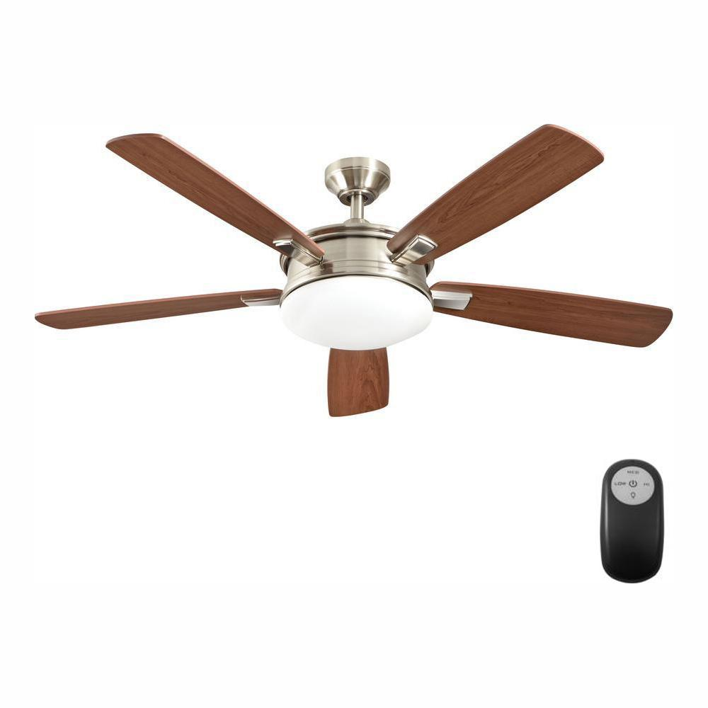 Home Decorators Collection Daylesford 52 in. LED Indoor Nickel Ceiling Fan with Light Kit and Remote Control