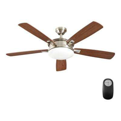Daylesford 52 in. LED Indoor Nickel Ceiling Fan with Light Kit and Remote Control