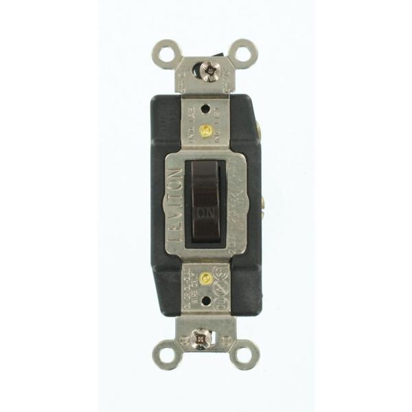 20 Amp Industrial Grade Heavy Duty Single-Pole Double-Throw Center-Off Maintained Contact Toggle Switch, Brown