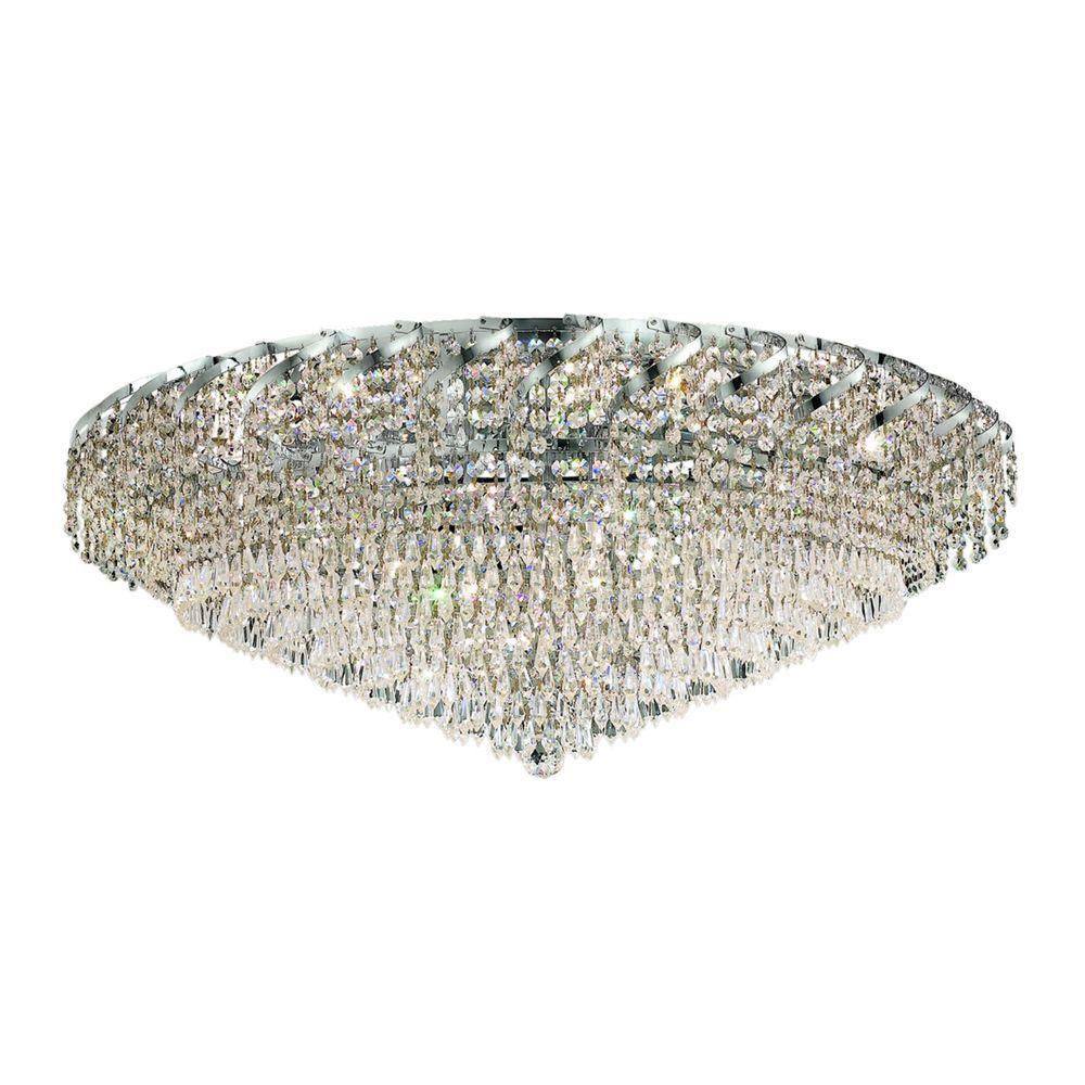 Elegant Lighting 18-Light Chrome Flushmount with Clear Crystal