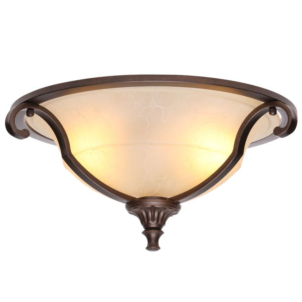 Fairview 16 in. 2-Light Heritage Bronze Ceiling Flushmount with Glass Shade