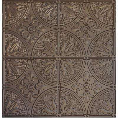 Dimensions 2 ft. x 2 ft. Bronze Tin Ceiling Tile for Refacing in T-Grid Systems