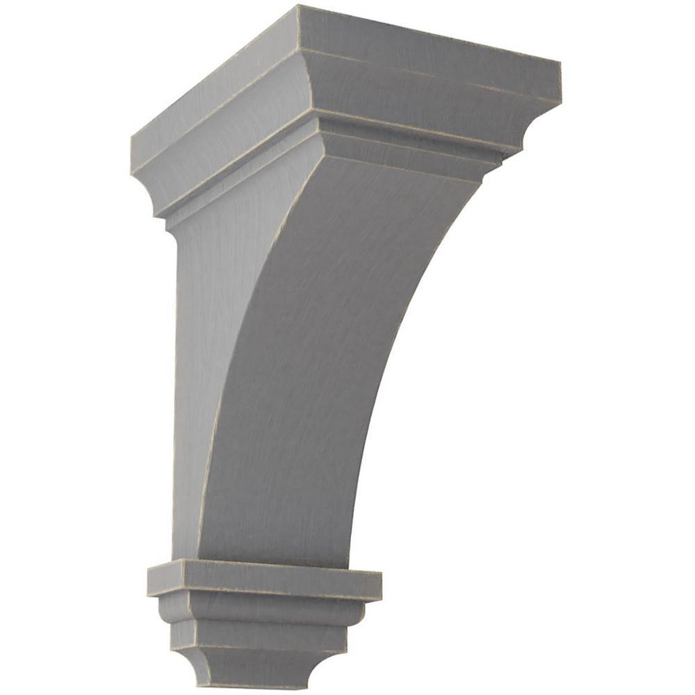 5 in. x 10 in. x 5-3/4 in. Pebble Grey Medium Jefferson Wood Vintage Decor Corbel