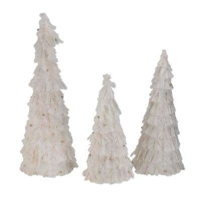15 in. - 18.5 in. - 23.5 in. Nature's Luxury Blush Feather Cone Tree Christmas Decorations (Set of 3)