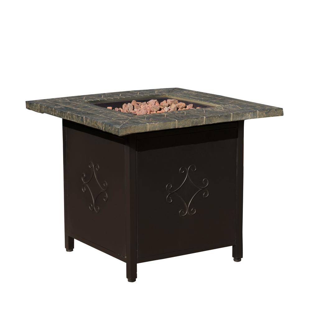 Noble House Tiburon 30 in. x 24 in. Square MGO Fire Pit in Copper - 40,000 BTU