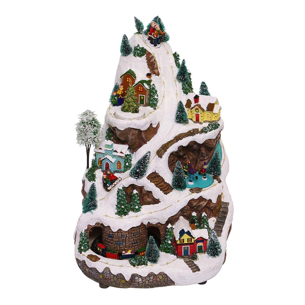Alpine Corporation 18 In Tall Animated Winter Wonderland Set With Led Light And Music Whs102ww The Home Depot