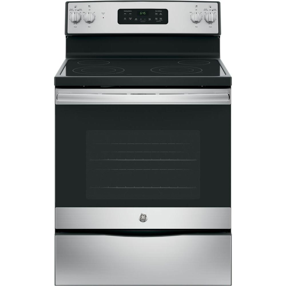 Ge 30 in 5 3 cu ft free standing electric range with for Stove top with built in vent