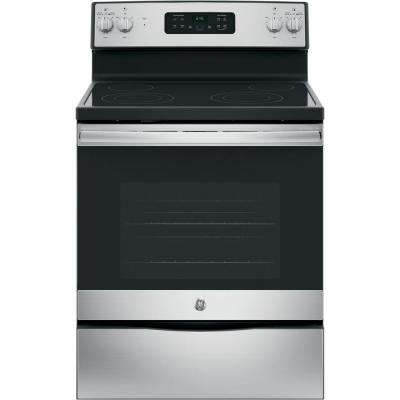 30 in. 5.3 cu. ft. Free-Standing Electric Range with Self-Cleaning Oven in Stainless Steel