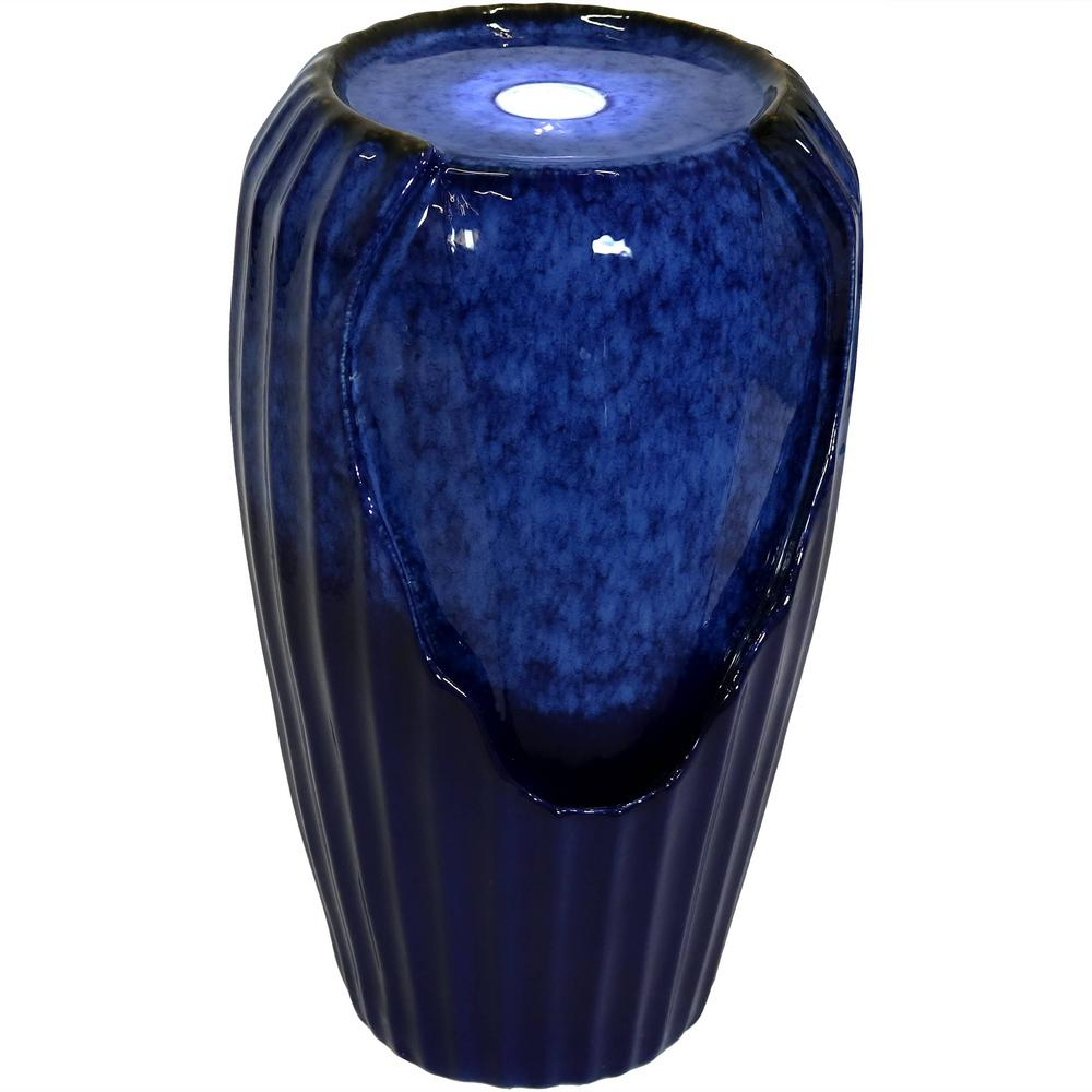Sunnydaze Decor 22 In Blue Ceramic Vase Outdoor Water Fountain With Led Lights