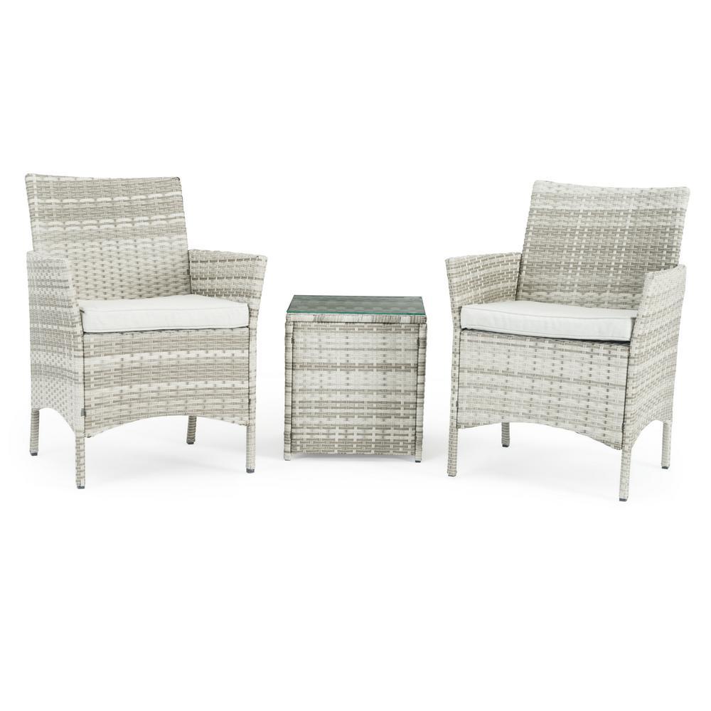 Silva Grey 3-Piece Wicker Patio Conversation Set with Grey Cushions