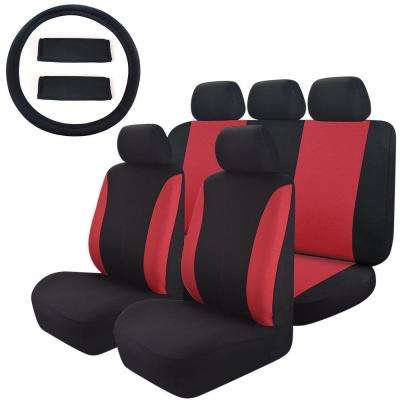 47 in. x 23 in. x 1 in. Mesh Cloth Universal Ful Set Car Seat Cover For Car SUV Truck or Van, Red/Black (14-Piece)