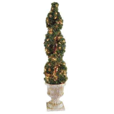 54 in. Double Cedar Spiral Tree with Decorative Urn and 150 Clear Lights