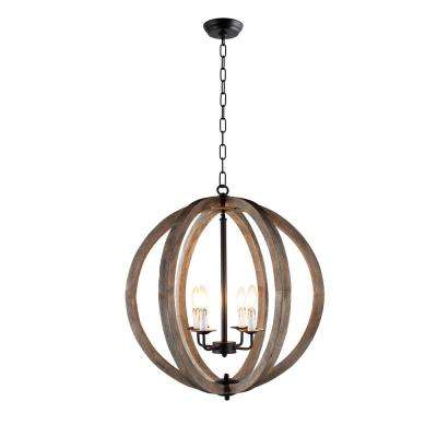 4 Light Rustic Black Metal And Vintage Wood Pendant Orb Chandelier