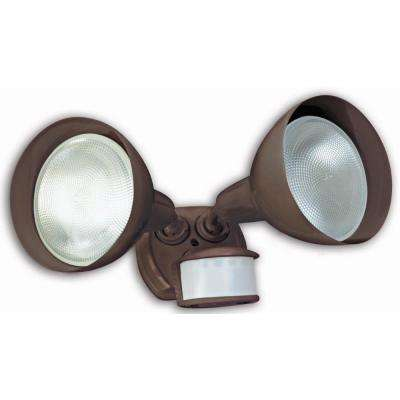 240-Watt 270-Degree Bronze Motion Activated Outdoor Dusk to Dawn Security Flood Light with Twin Head and Bulb Shields