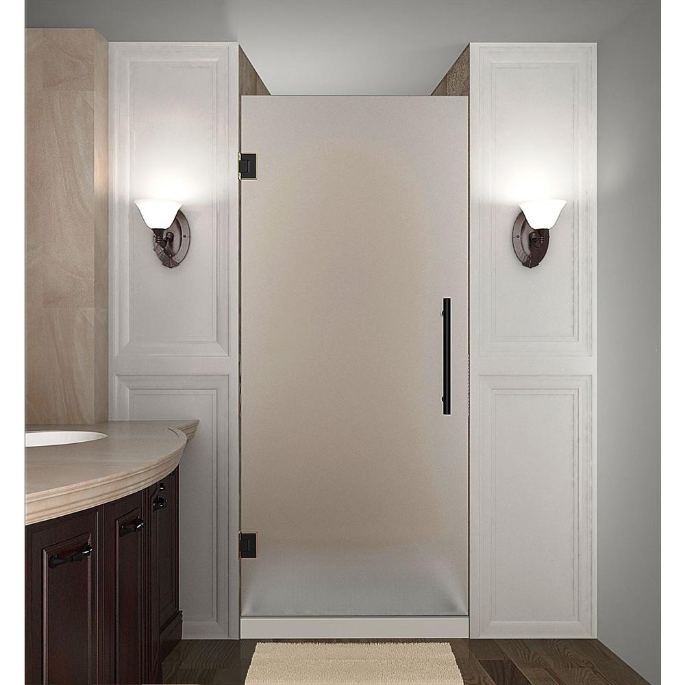 Aston Cascadia 28 in. x 72 in. Completely Frameless Hinged Shower Door with Frosted Glass in Oil Rubbed Bronze