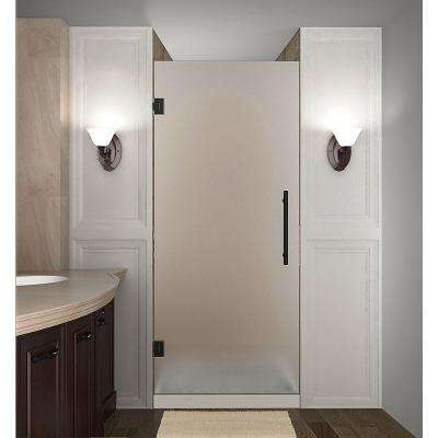 Cascadia 29 in. x 72 in. Completely Frameless Hinged Shower Door with Frosted Glass in Oil Rubbed Bronze