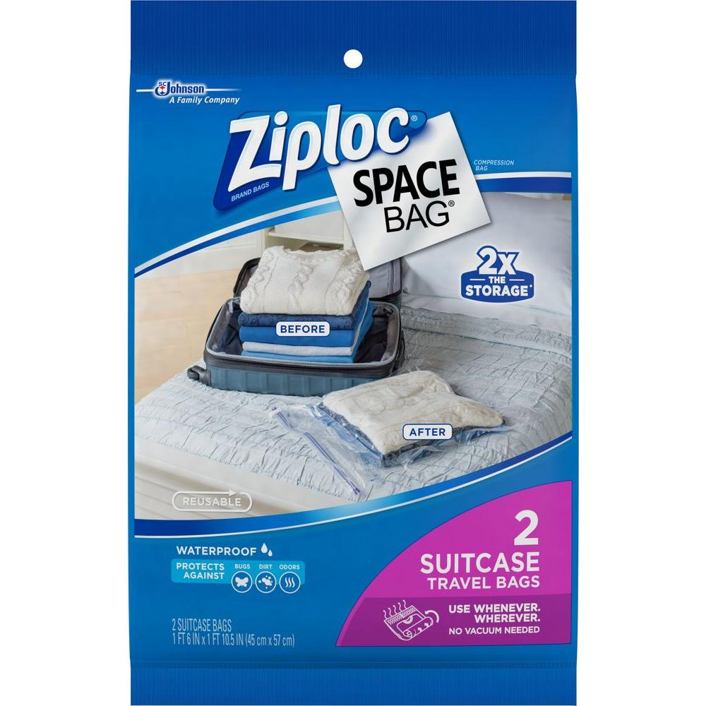 22.5 in. H x 18 in. W Plastic Suitcase Travel Space Bag 3-2 per Pack,  Clear