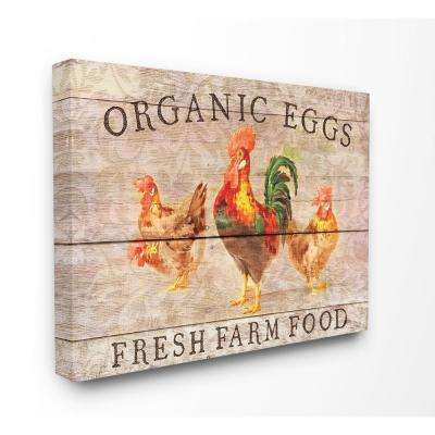 """16 in. x 20 in.  """"Organic Eggs Farm Chickens And Roosters Planked Look"""" by Cora Niele Canvas Wall Art"""