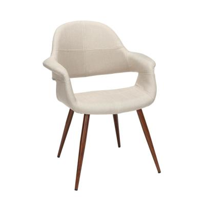 161 Collection Mid Century Modern 2 Pack Fabric Accent Chair with Arms, Dining Chairs, in Beige